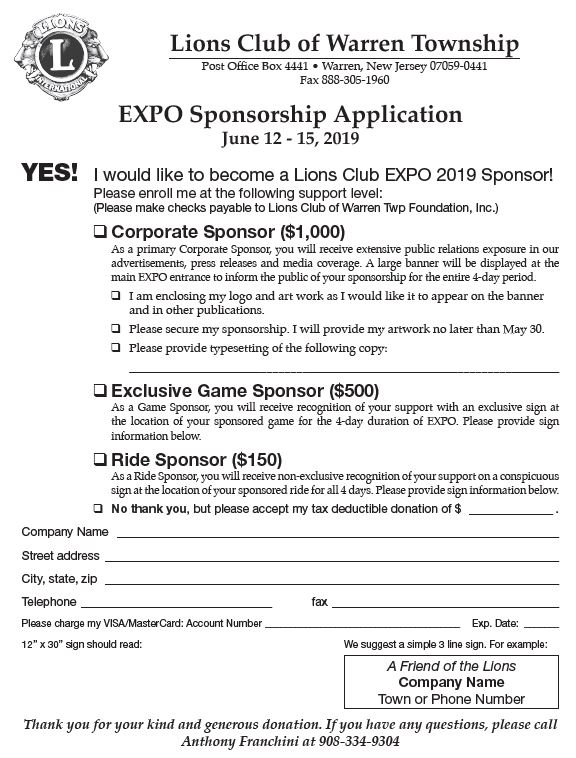 Exponsorship application